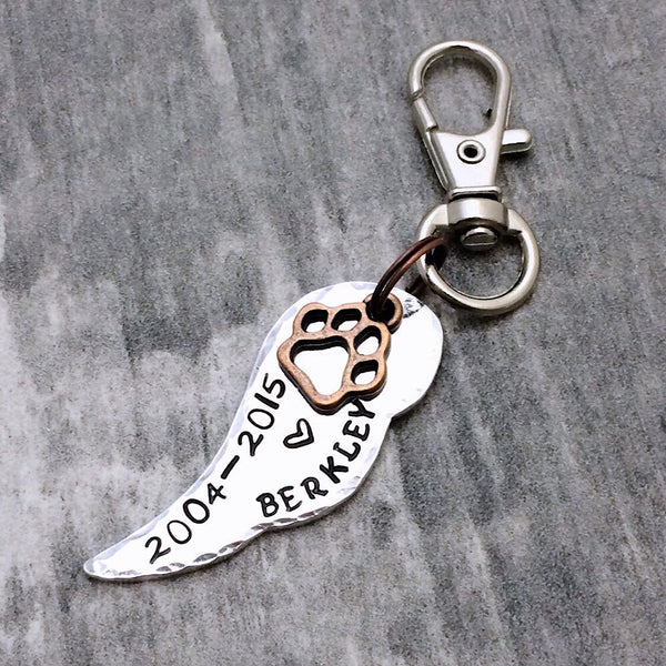 Angel Wing Memorial Pet Keychain