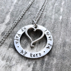 My Papa My Hero My Angel necklace