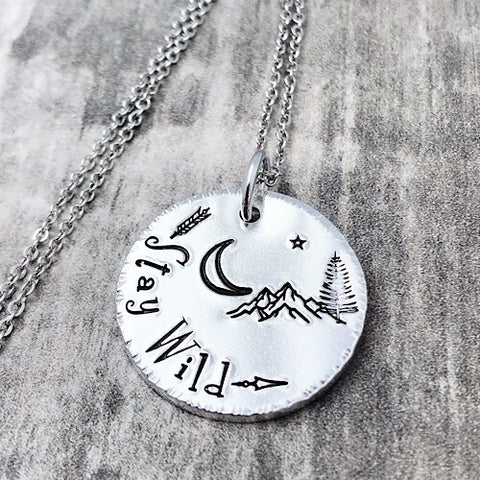 Stay Wild mountain necklace