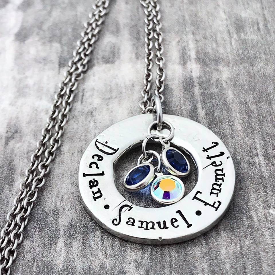 hand stamped pewter washer birthstone necklace