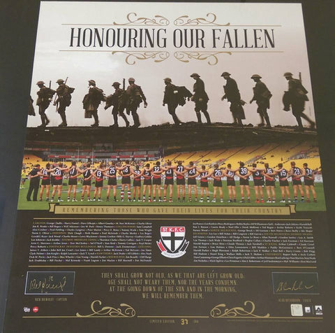 "St Kilda F.C Signed ""Honouring Our Fallen 2015 Anzac Day"" Tribute Memorabilia"