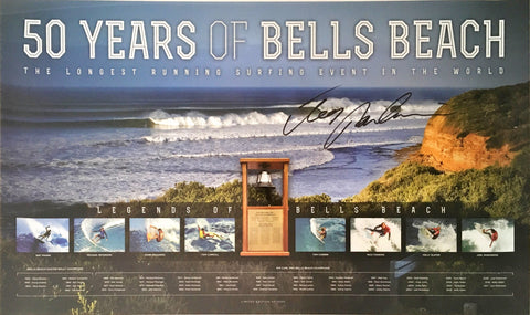 Joel Parkinson signed 50 years of Bells Beach surfing memorabilia