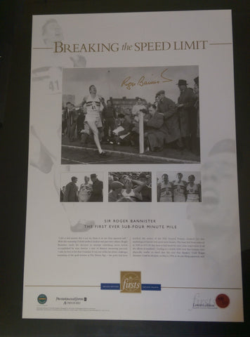 "Sir Roger Bannister signed ""BREAKING the SPEED LIMIT"" memorabilia"