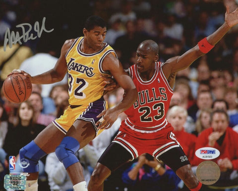 Magic Johnson Signed Lakers 8x10 Photo with Michael Jordan