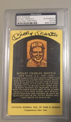 Mickey Mantle signed hall of fame card.