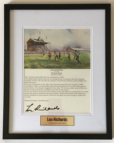 Rou Richards signed Collingwood Memorabilia