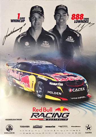 Craig Lowndes and Jamie Whincup signed Red Bull Supercars Memorabilia