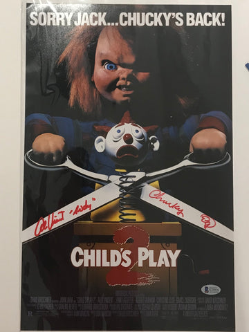 Multi signed chucky movie memorabilia