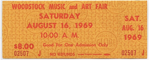 Authentic Unused Saturday Woodstock Ticket from August 16, 1969