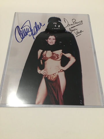 Signed photograph by Carrie Fisher (Princess Leia) and David Prowse (Darth Vader)