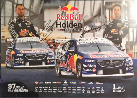 Shane Van Gisbergen and Whincup signed Red Bull Supercars Memorabilia