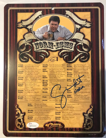 "George Wendy signed ""Cheers"" metal sign inscribed ""Norm"""