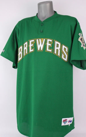 Team issued Milwaukee Brewers St. Patrick's Day spring training jersey Kyle Peterson