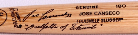 Jose Canseco  signed and inscribed baseball bat