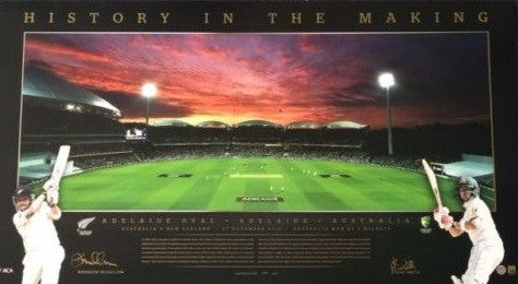 Steve Smith & Brendon McCullum Signed -History in the Making- Panoramic memorabilia
