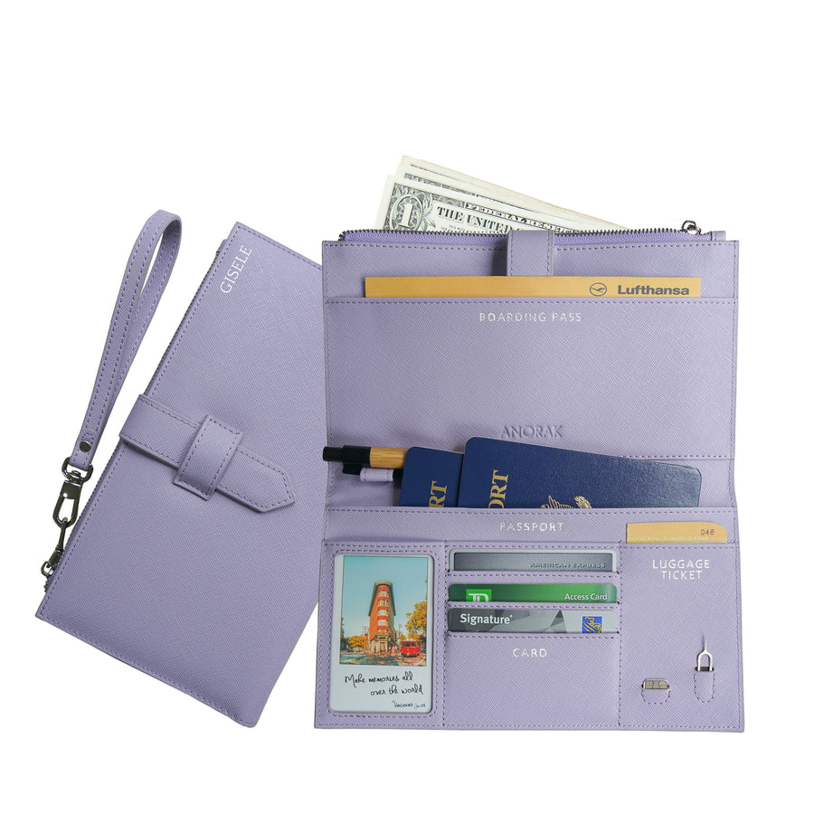 Lavender Travel Wallet with RFID protection
