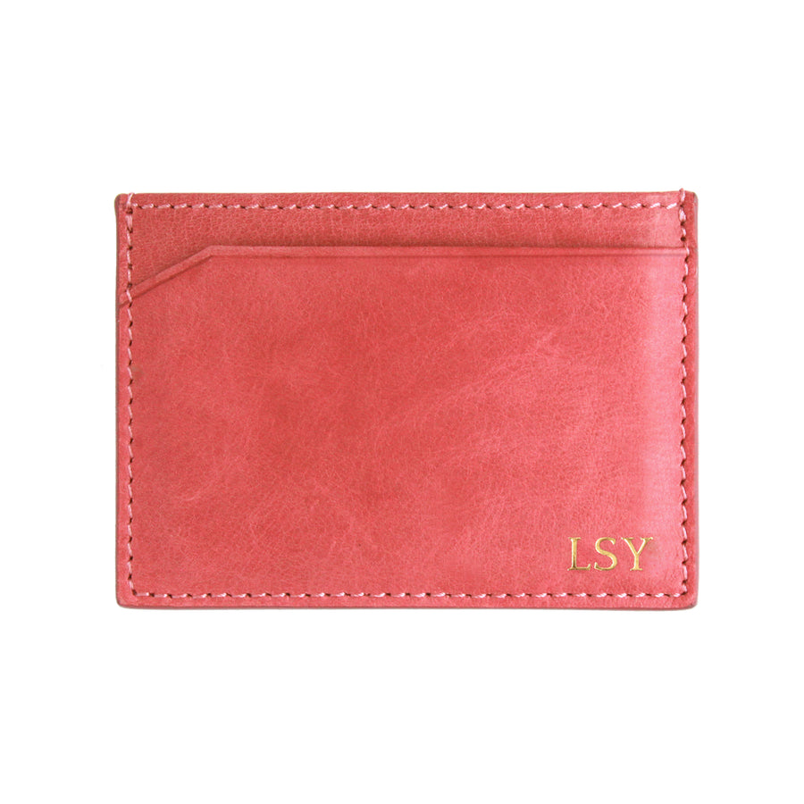 Dusty Pink Canvas Cardholder - Initials