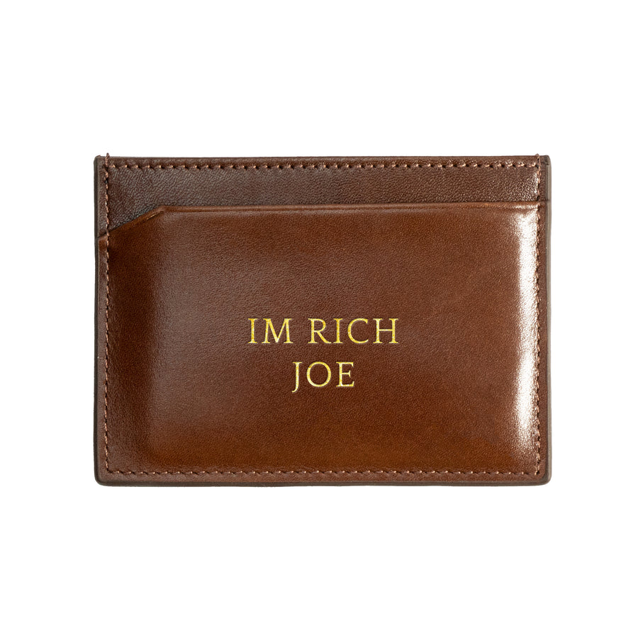 Brown Canvas Cardholder - Statement & Initials