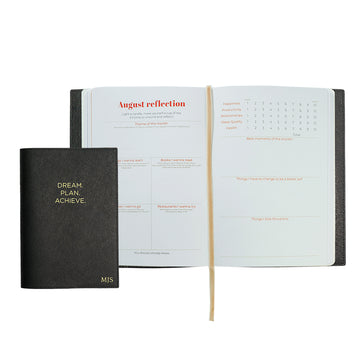 Black Dream Plan Achieve Leather Cover Planner