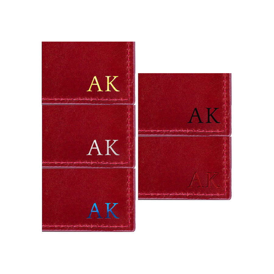 Burgundy Red Photoframe Cardholder - Statement and Initials
