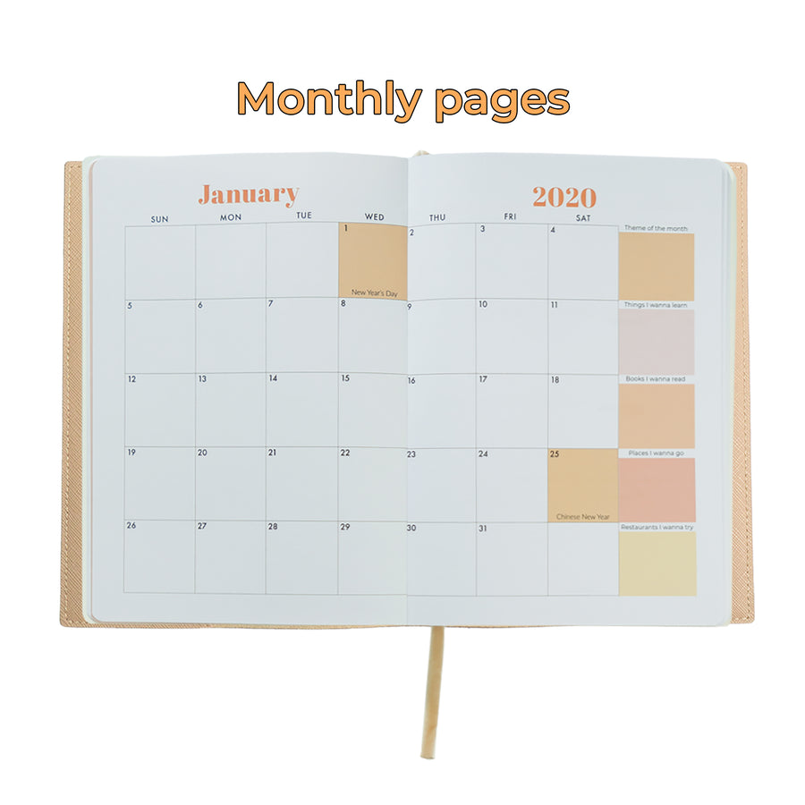 Beige Dream Plan Achieve Leather Cover Planner
