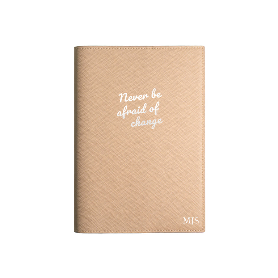 Beige Never Be Afraid of Change Leather Cover Planner