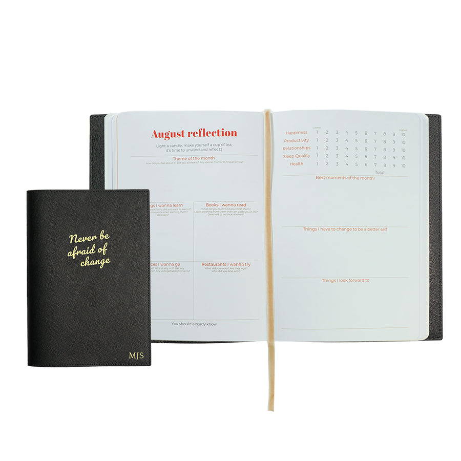 Black Never Be Afraid Of Change Leather Cover Planner