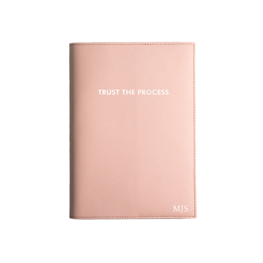 Nude Pink Trust The Process Leather Cover Planner
