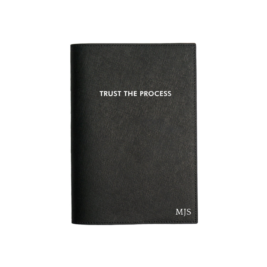 Black Trust The Process Leather Cover Planner
