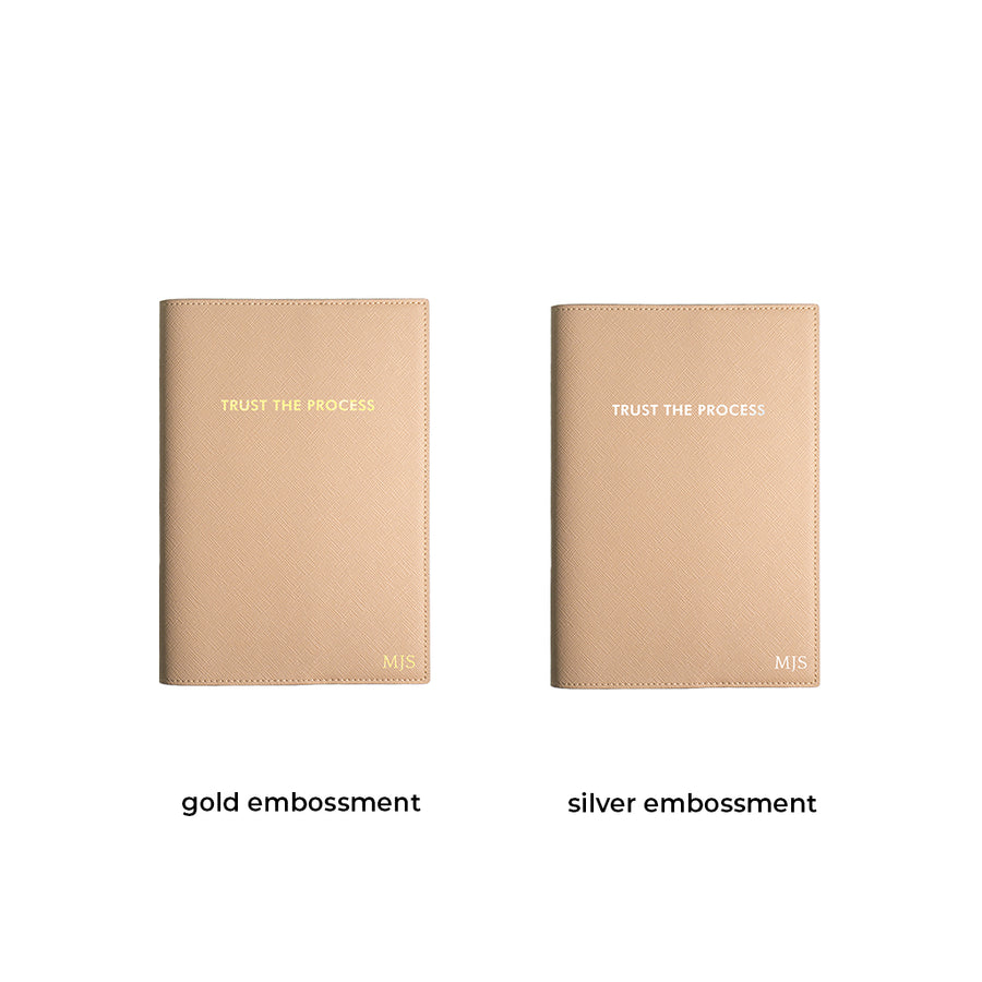Beige Trust The Process Leather Cover Planner