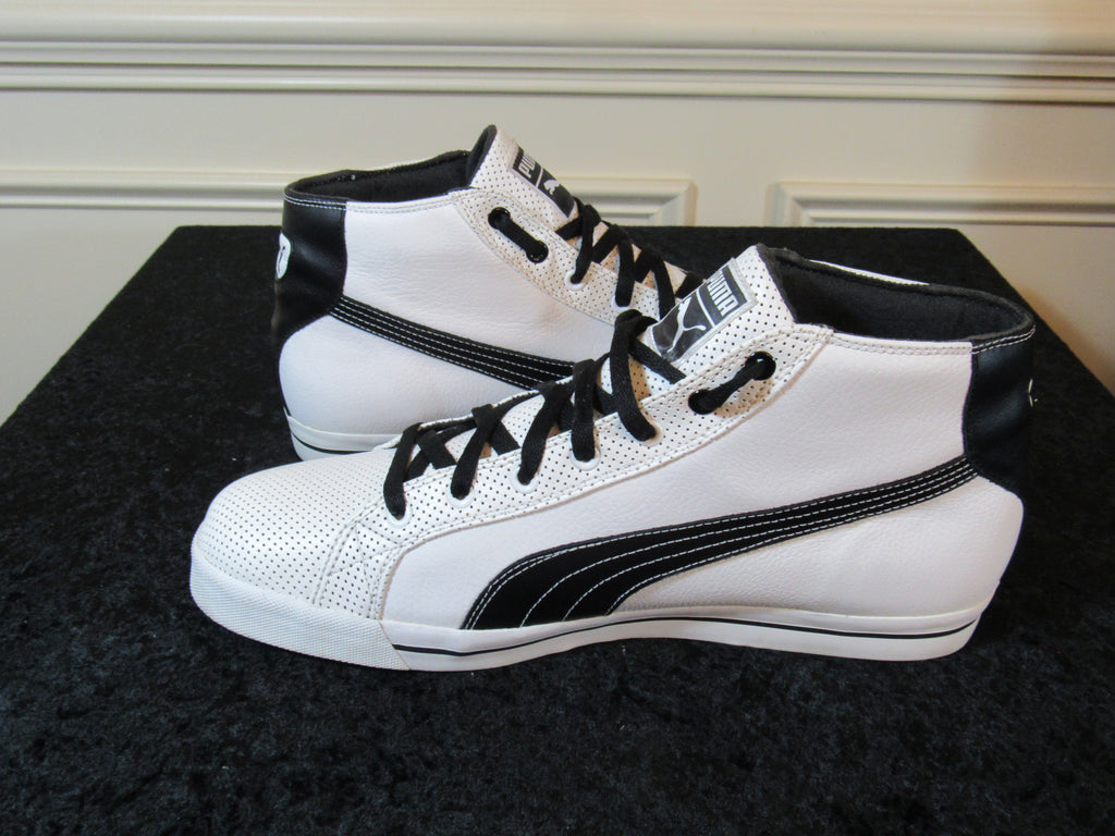 PUMA (35125601) Men's High Top White & Black Leather Sneakers SIZE 13