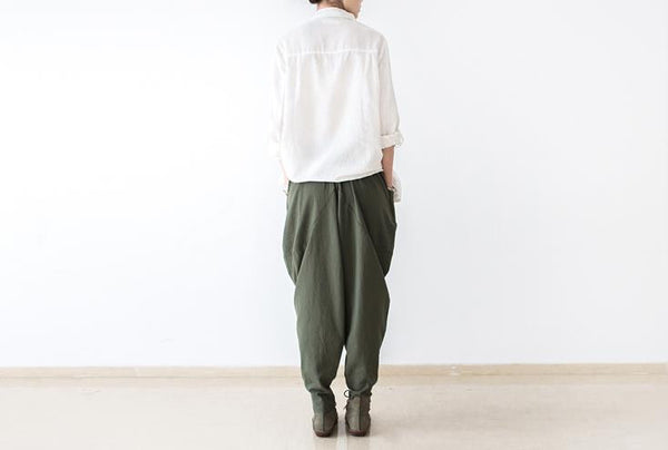 Dolly Army Green Linen Boot Pants