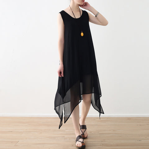 Brenda Elegant High-Low Sleeveless Black Chiffon dress