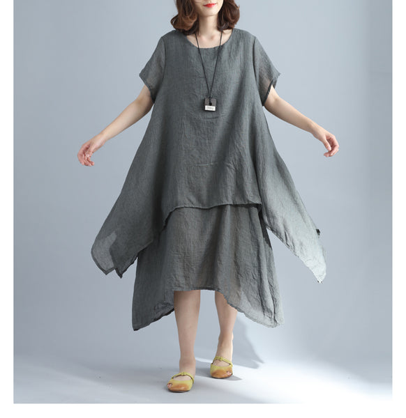 Bubles comfortable texture double layer linen one piece dress