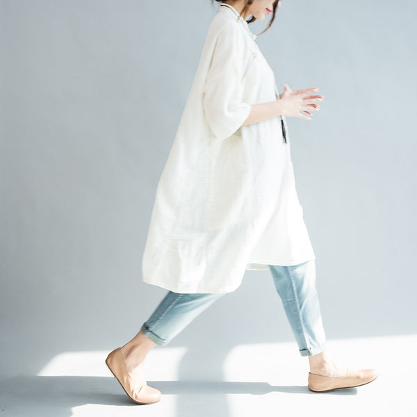 Chine oblique blouse handmade shirt dress