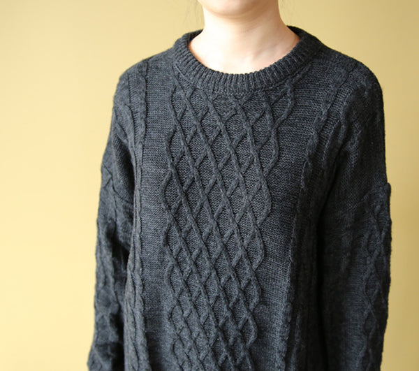 Classic jacquard zen wool long sweater