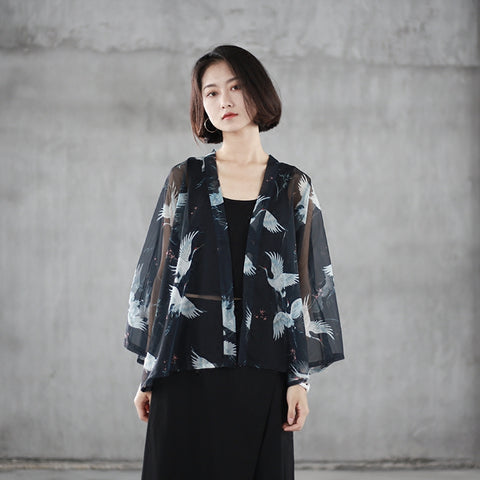 Crane Print Cardigan Summer Sunscreen Chiffon Shirt