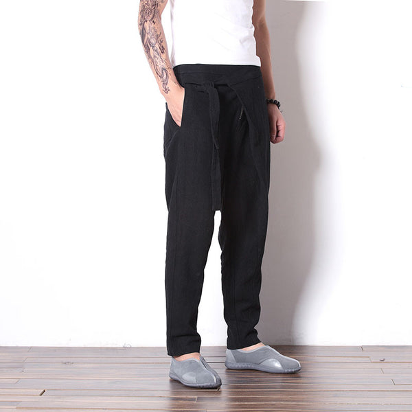 Men's Wrap Front Drop Crotch Harem Pants