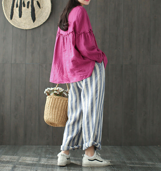 Elvis striped linen loose pants