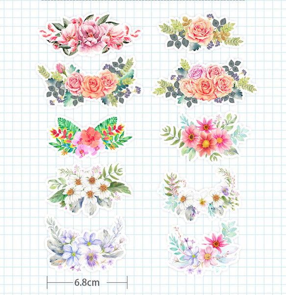 Floral Stickers Pack Watercolor Flowers Sticker Set Planner Scrapbook Stickers journal stickers
