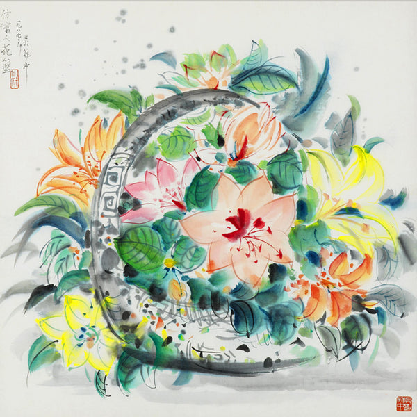 Flower Basket Chinese Paintings Print
