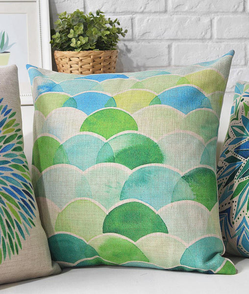 Fresh watercolor linen cotton pillowcase sofa cushions cover