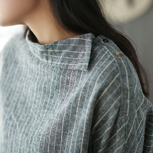 Gloria Striped Linen Hedging shirt