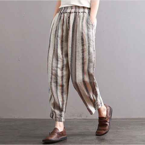 Gloria loose harem linen stripes casual pants