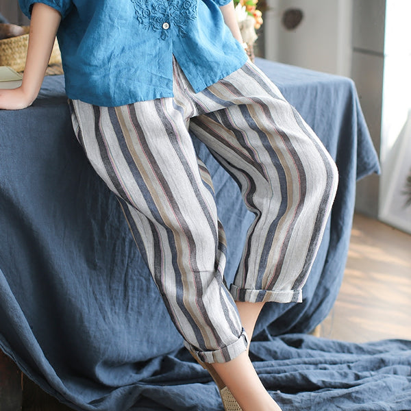 Grace striped linen loose pants