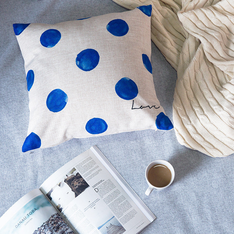 Indigo blue organic cotton pillowcase sofa cushions cover