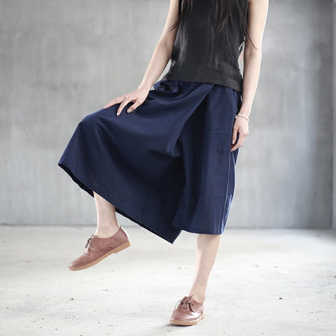 Irregular linen wide leg asymmetrical pants