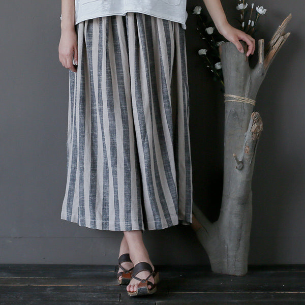 Janet linen vertical striped wide leg pants