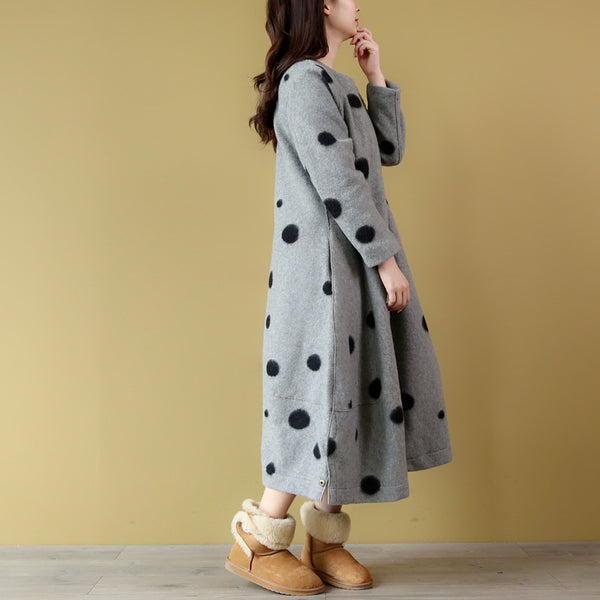 Jude polka-dot long loose woolen coat