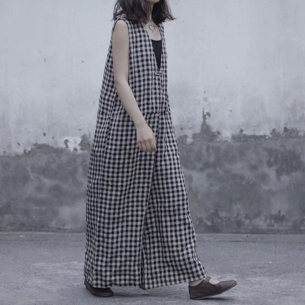 Lattice jumpsuit Loose linen wide leg overalls